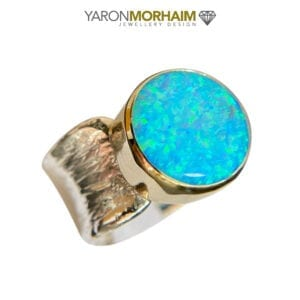 Silver Gold Ring Opal