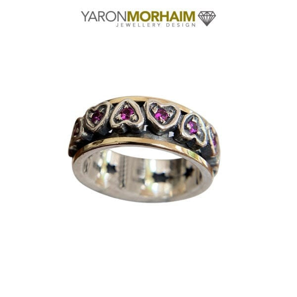 Spinning Heart Ruby Silver & Gold Ring