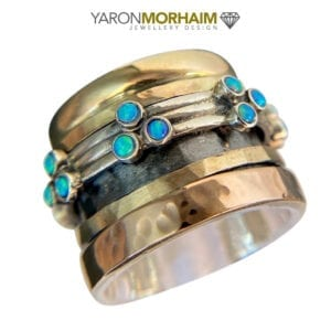 Opal Spinning Silver Gold Ring