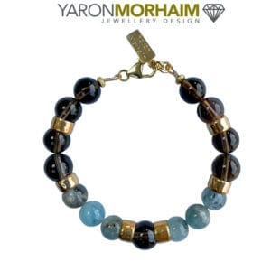 Aquamarine Smoky Quartz Gold Bracelet