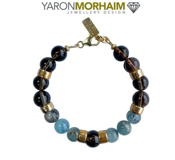 Aquamarine Smoky Quartz Gold Bracelet