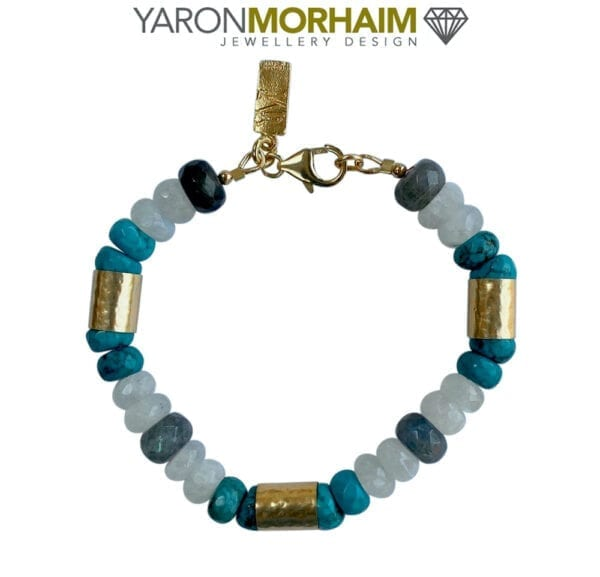 Gold Vermeil Bracelet With Turquoise & Moonstone Gemstones