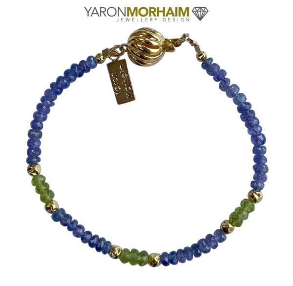 24k Gold Vermeil Tanzinite Peridot Bracelet