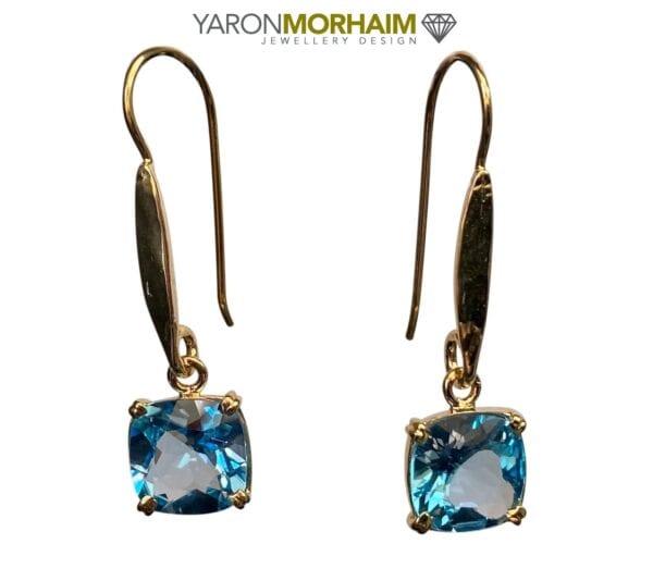 Blue Topaz Square Earrings