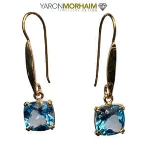 Blue Topaz Square Gold Earrings