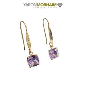 Amethyst Square Drop Gold Earrings
