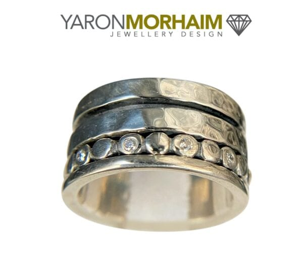 Organic handmade silver ring