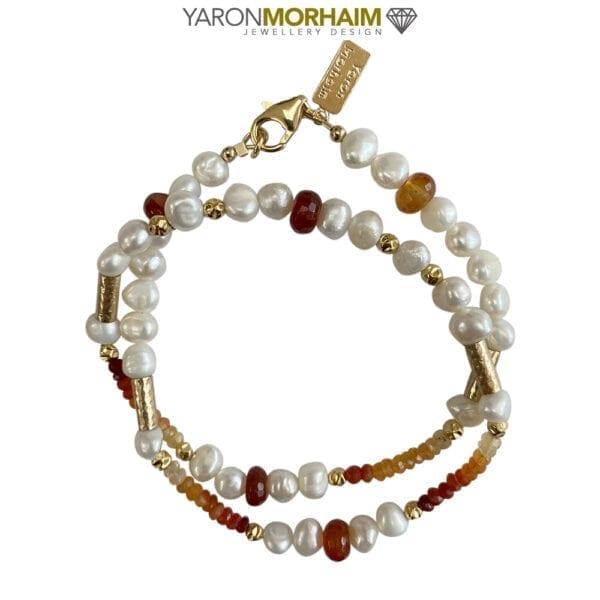 Necklace Cornelian Pearls Opals
