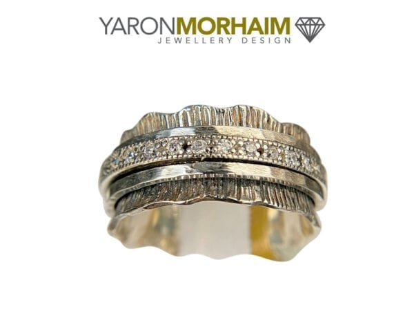 Serrated CZ Spinner Silver Ring