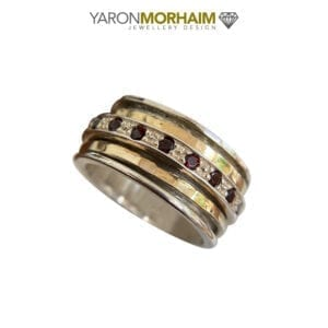 Stunning Spinning Silver & Gold Garnet Ring