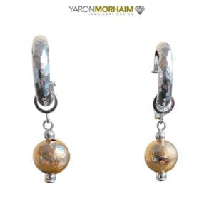 Hammered Silver Gold Ball Earrings