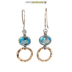 Silver Gold Oval Blue Topaz Drop Earrings