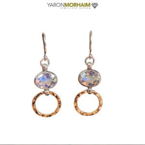 Silver Gold Oval Rainbow Quartz Drop Earrings