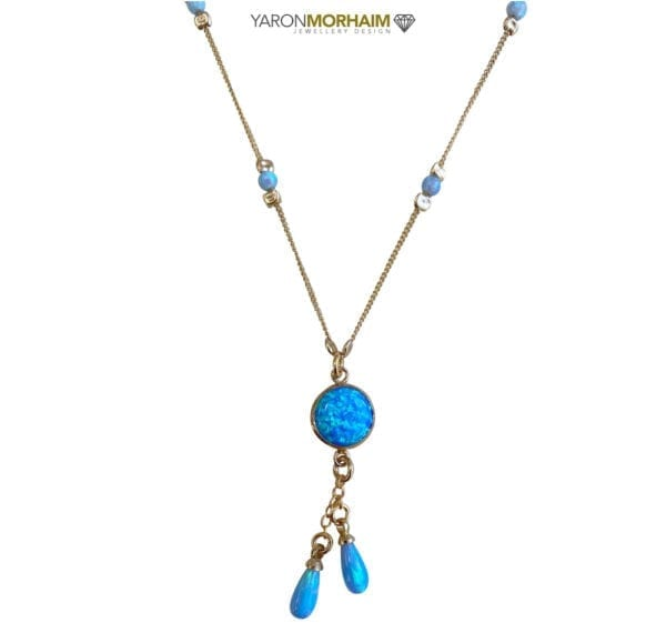 Gold Necklace With Opals