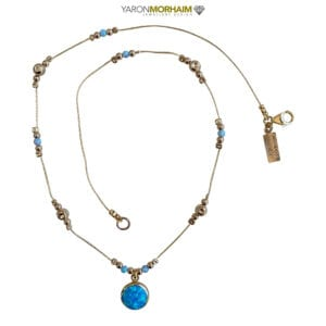 Gold Necklace Multi Opals