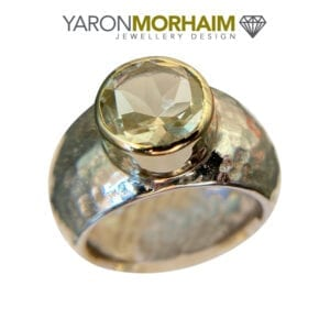Silver Gold Ring Lemon Quartz
