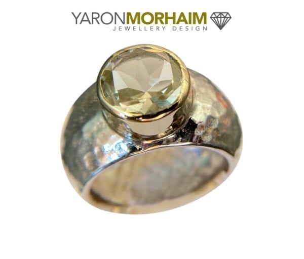 Silver Gold Ring Lemon Quartz
