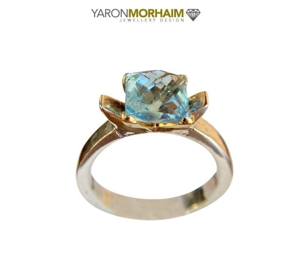 9ct Gold Silver Topaz Ring, Blue