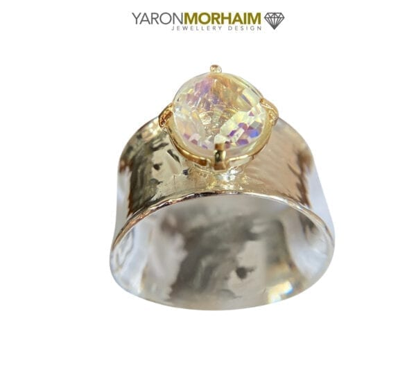Faceted Rainbow Quartz Silver Gold Ring