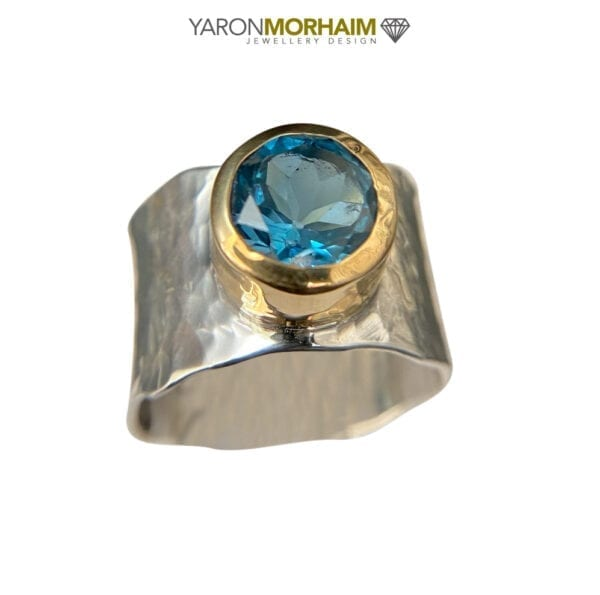 Silver 9ct Gold London Blue Topaz Ring