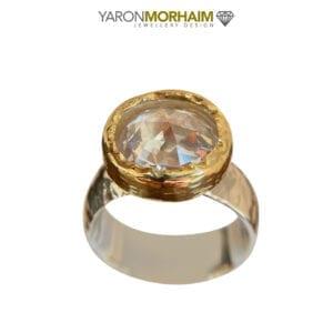 Silver Gold Cassiopeia CZ Gemstone Ring