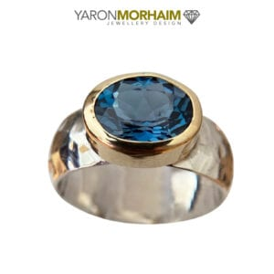 Faceted London Blue Topaz Gemstone Ring