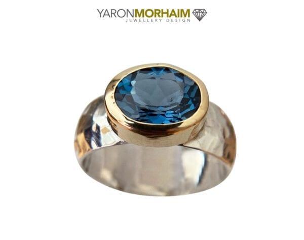 Faceted London Blue Topaz Gemstone Ring
