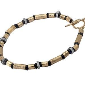 Black Onyx CZ Gold Bracelet With T Bar