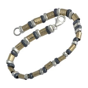14c Rolled Gold & Silver Oxidised Bracelet