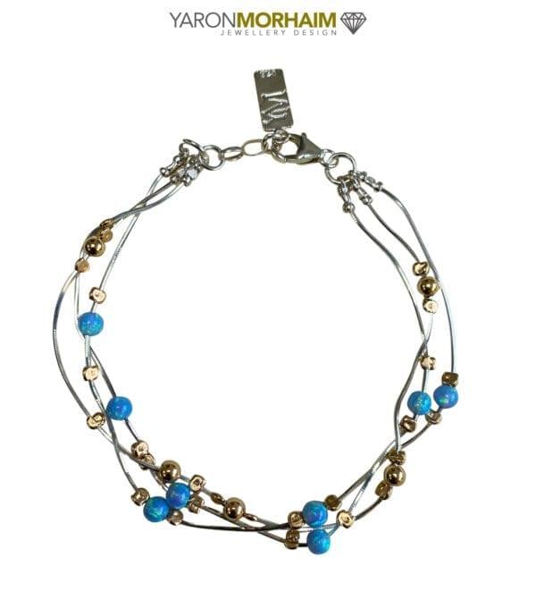 Silver 14k Rolled Gold Opal Bracelet