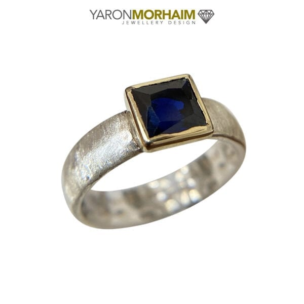 Silver & Gold Sapphire Ring