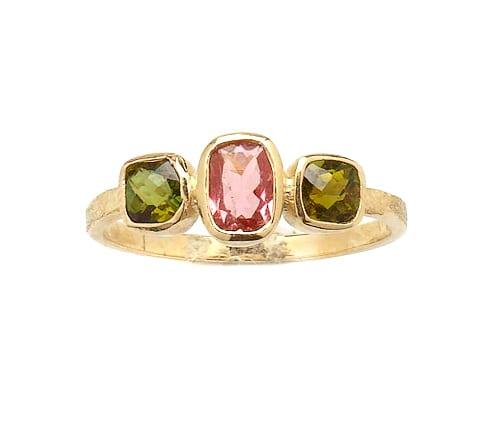 9ct Gold Peridot & Pink Topaz Harlequin Ring