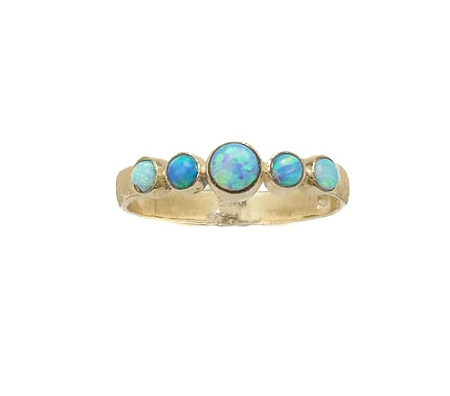 9ct Gold Round Opal Ring