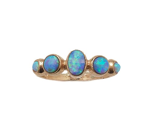 9ct Gold Oval & Round Opal Ring