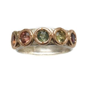 Multi Colour Tourmaline 9k Ring