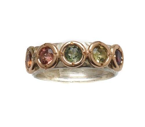 Multi Colour Tourmaline 9k Ring