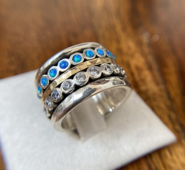 Silver & Gold Spinning Ring with Opals & CZ