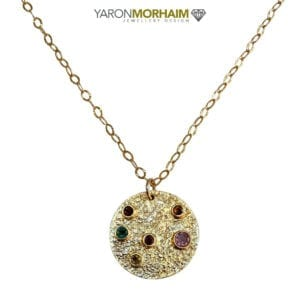 Tourmalines Circle Pendant Necklace, Multi