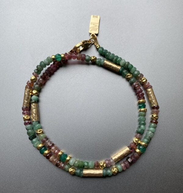 Multi Colour Emerald and Tourmaline Luxury Gold Necklace