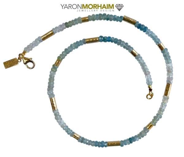 Gold Necklace Aquamarine Blue Topaz Gemstones