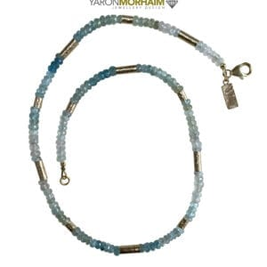 Gold Necklace Aquamarine Blue Topaz Gemstones