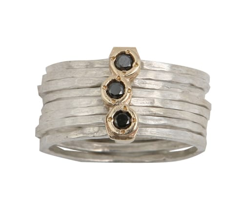 9ct Gold Sterling Silver With Faceted Black Diamonds