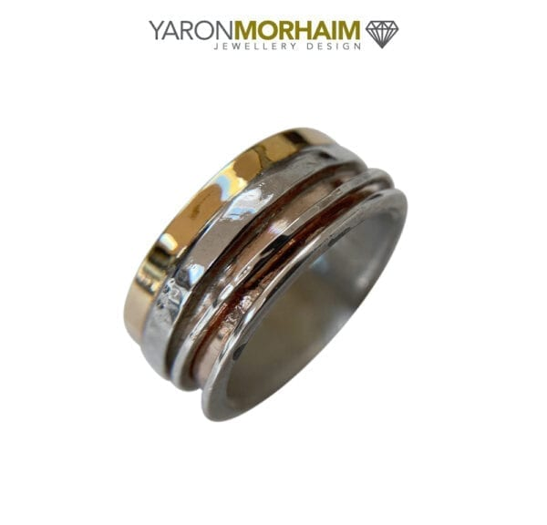 Three Tone Silver & Gold Spinning Ring