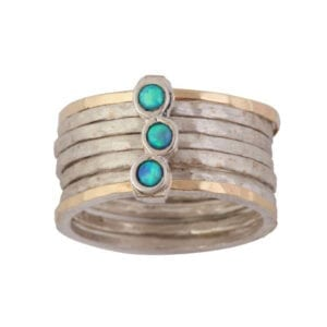 Cluster Opal Cocktail Ring, Silver/Gold