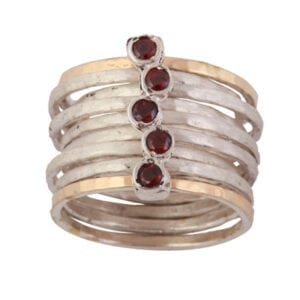 9ct Gold Silver Garnet Ring