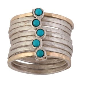 Turquoise December Birthstone Silver Gold Ring