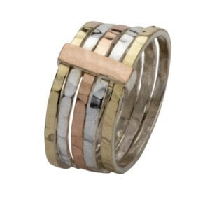 9ct Gold Sterling Silver Three Tone Ring