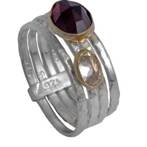 Silver Gold Ring With Garnet & CZ