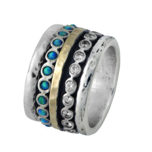 Silver Gold Spinning Ring with Opals & CZ