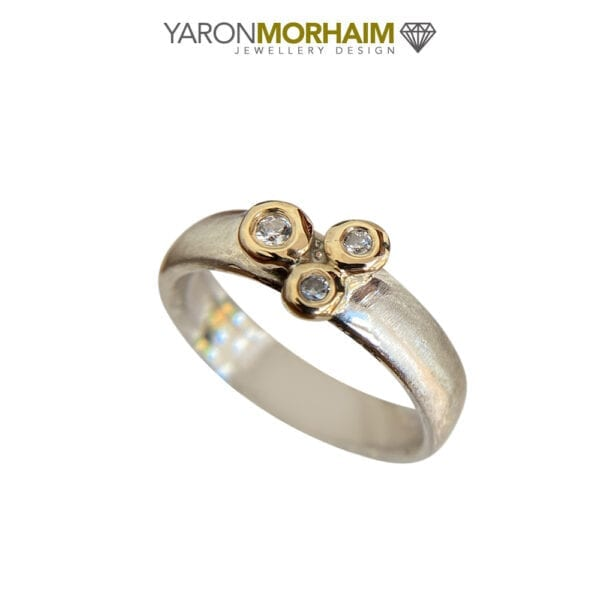 Glamorous Silver & Gold Ring Sparkling CZ